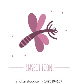 Vector hand drawn flat flying purple dragonfly. Funny woodland insect icon. Cute forest animalistic illustration for children's design, print, stationery
