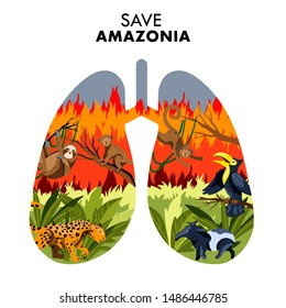 """Vector hand drawn flat style lung-shaped poster """"Save Amazonia"""" depicting forest on fire with toucan, sloth, monkeys and tapir. For posters, flyers, web sites, illustrations, blog posts, articles"""
