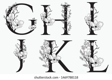 Vector Hand Drawn Floral Alphabet Monograms or Logos G, H, I, J, K, L. Letters with Flowers and Branches. Cherry Blossom. Flowered Design Elements. Brand Identity