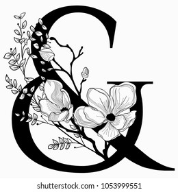 Vector Hand Drawn floral Ampersand monogram or logo. Ampersand with Flowers and Branches, Cherry Blossom. Floral Design