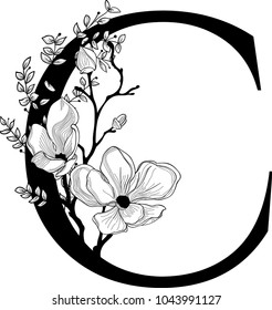 Vector Hand Drawn floral C monogram or logo. Letter C with Flowers and Branches. Cherry Blossom. Floral Design