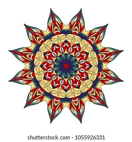 Vector hand drawn floral color mandala design. For fashion, surface design. Red, purple, gold color