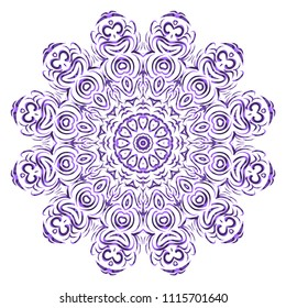 Vector hand drawn floral color mandala design. For fashion, surface design. Red, purple, gold mistic color