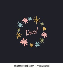"""Vector hand drawn floral frame and inscription """"Diva"""". Poster, postcard, sticker, print, label, elements for design and other."""