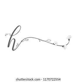 Vector Hand Drawn floral H monogram or logo. Lowercase Hand Lettering Letter h with Flowers and Branches. Wildflowers. Floral Design