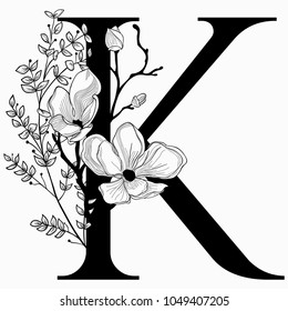 Vector Hand Drawn floral K monogram or logo. Letter K with Flowers and Branches. Cherry Blossom. Floral Design