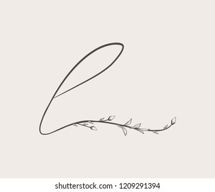 Vector Hand Drawn floral L monogram or logo. Lowercase Hand Lettering Letter l with Flowers and Branches. Wildflowers. Floral Design