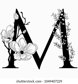 Vector Hand Drawn floral M monogram or logo. Uppercase Letter M with Flowers and Branches. Cherry Blossom. Floral Design