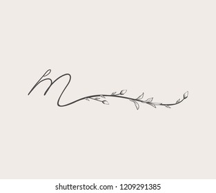 Vector Hand Drawn floral M monogram or logo. Lowercase Hand Lettering Letter m with Flowers and Branches. Wildflowers. Floral Design