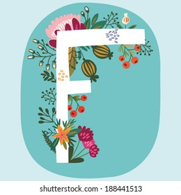 """Vector hand drawn Floral monogram with vintage amazing flowers! Letters """"F"""" Perfect for backgrounds of flyers, posters, invitations, cards, webs graphics, blogs, banners, and more."""