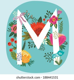 """Vector hand drawn Floral monogram with vintage amazing flowers! Letters """"M"""" Perfect for backgrounds of flyers, posters, invitations, cards, webs graphics, blogs, banners, and more."""