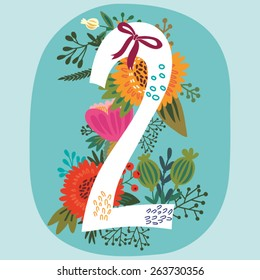 "Vector hand drawn Floral number with vintage amazing flowers! Number ""2"" Perfect for backgrounds of flyers, posters, invitations, cards, webs graphics, blogs, banners, and more."