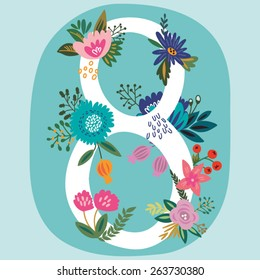 """Vector hand drawn Floral number with vintage amazing flowers! Number """"8"""" Perfect for backgrounds of flyers, posters, invitations, cards, webs graphics, blogs, banners, and more."""