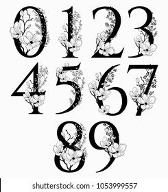 Vector Hand Drawn floral Numbers monogram or logo. Numerals with Flowers and Branches, Cherry Blossom. Floral Design