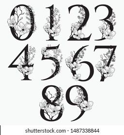 Vector Hand Drawn Floral Numbers Monograms or Logos. Numerics 1, 2, 3, 4 , 5, 6, 7, 8, 9, 0 with Flowers and Branches. Cherry Blossom. Flowered Design Elements. Brand Identity