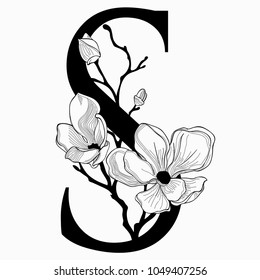Vector Hand Drawn floral S monogram or logo. Uppercase Letter S with Flowers and Branches. Cherry Blossom. Floral Design