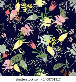 Vector hand drawn floral seamless pattern and backdrop. Elegant plant background. Intricate modern summer and spring flower illustration set