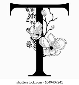 Vector Hand Drawn floral T monogram or logo. Uppercase Letter T with Flowers and Branches. Cherry Blossom. Floral Design