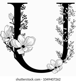 Vector Hand Drawn floral U monogram or logo. Uppercase Letter U with Flowers and Branches. Cherry Blossom. Floral Design