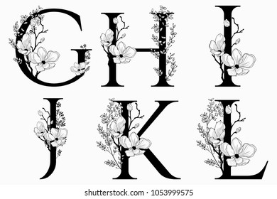 Vector Hand Drawn floral uppercase letters monograms or logo. Uppercase Letters G, H, I, J, K, L with Flowers and Branches, Cherry Blossom. Floral Design