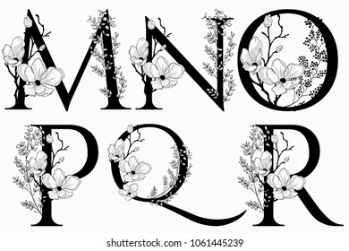 Vector Hand Drawn floral uppercase letters monograms or logo. Uppercase Letters M, N, O, P, Q, R with Flowers and Branches, Cherry Blossom. Floral Design