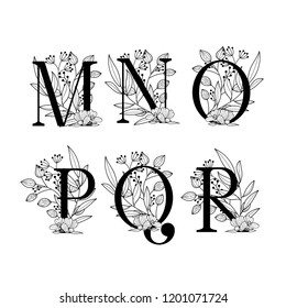 Vector Hand Drawn floral uppercase letters monograms or logo. Uppercase Letters M, N, O, P, Q, R with Flowers Floral Design