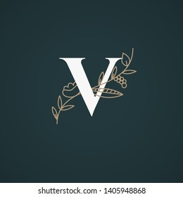Vector Hand Drawn floral uppercase letters monograms or logo. Uppercase Letter V with Flowers and Branches. Suitable for card, invitation, save the date, logo, business identity style.