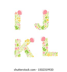 Vector Hand Drawn floral uppercase letter monograms or logo. Uppercase Letters I, J, K, L with Flowers and Branches Blossom. Floral Design