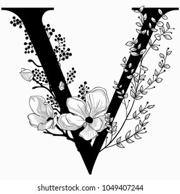 Vector Hand Drawn floral V monogram or logo. Uppercase Letter V with Flowers and Branches. Cherry Blossom. Floral Design