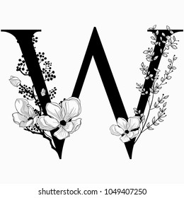 Vector Hand Drawn floral W monogram or logo. Uppercase Letter W with Flowers and Branches. Cherry Blossom. Floral Design