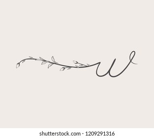 Vector Hand Drawn floral W monogram or logo. Lowercase Hand Lettering Letter w with Flowers and Branches. Wildflowers. Floral Design