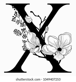Vector Hand Drawn floral X monogram or logo. Uppercase Letter X with Flowers and Branches. Cherry Blossom. Floral Design