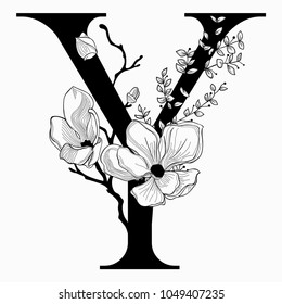 Vector Hand Drawn floral Y monogram or logo. Uppercase Letter Y with Flowers and Branches. Cherry Blossom. Floral Design