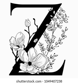 Vector Hand Drawn floral Z monogram or logo. Uppercase Letter Z with Flowers and Branches. Cherry Blossom. Floral Design