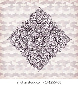 vector hand drawn flower  on geometric background, transparency effects