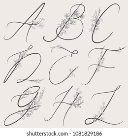 Vector Hand Drawn Flowered Alphabet monogram or logo. Uppercase Letters with Flowers and Branches. Handwritten Monogram Letter A, B, C, D, E, F, G, H, I. Floral Design