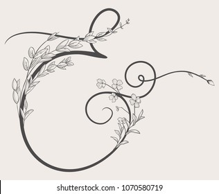 Vector Hand Drawn Flowered Ampersand monogram or logo. Uppercase Ampersand with Flowers and Branches. Handwritten Monogram Letter. Floral Design