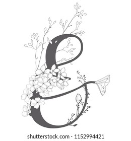 Vector Hand Drawn flowered Ampersand monogram or logo. Ampersand with Flowers and Branches. Wildflowers. Floral Design