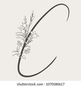 Vector Hand Drawn Flowered C monogram or logo. Uppercase Letter C with Flowers and Branches. Handwritten Monogram Letter. Floral Design