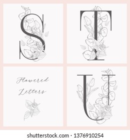 Vector Hand Drawn Flowered Initial S, T, U monograms or logs. Uppercase Letters with Tulip and Rose Flowers, Eucalyptus Branch. Wildflowers. Floral Design. Brand Identity