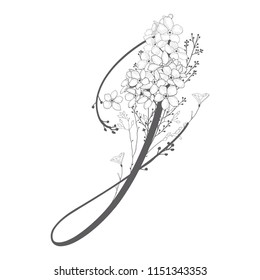 Vector Hand Drawn flowered J monogram or logo. Uppercase Letter J with Flowers and Branches. Wildflowers. Floral Design