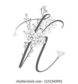 Vector Hand Drawn flowered K monogram or logo. Uppercase Letter K with Flowers and Branches. Wildflowers. Floral Design