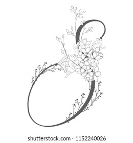 Vector Hand Drawn flowered S monogram or logo. Uppercase Letter S with Flowers and Branches. Wildflowers. Floral Design