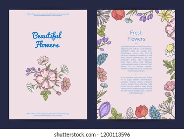 Vector hand drawn flowers card or flyer template illustration. Isolated poster or banner