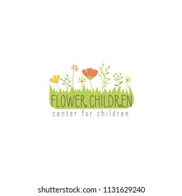 Vector hand drawn flowers for labels, logos and badges for  kids club, baby shop, toys shop and any other children's projects.