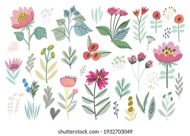 Vector Hand Drawn Flowers and Plants in Cute Color Palette. Hand drawn Vector Set. Colorful trendy illustration. All elements are isolated. Perfect For your own design.