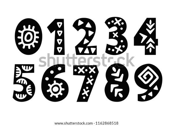 Vector Hand Drawn Folk Tribal Numbers Stock Vector ...