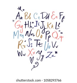 Vector hand drawn font set. ABC, alphabet. Clipart, isolated vector letters and decor elements.