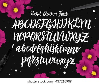 Vector Hand Drawn Font. White Letters Isolated on Black Background.