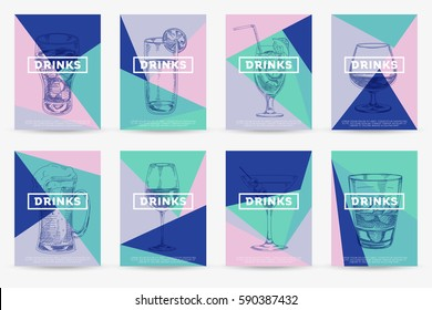 Vector hand drawn food and drinks posters. Vintage style menu. Retro food background. Sketch
